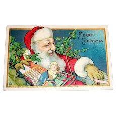 Merry Christmas Santa Claus With Toys Postcard