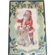 Vintage Christmas Greetings Santa Claus With Bag Of Toys Postcard