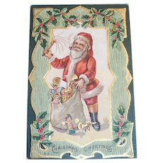 Vintage Christmas Greetings Santa Claus With Bag Of Toys Postcard