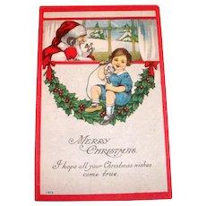 Vintage Merry Christmas - Santa Claus On Phone Postcard - 1915