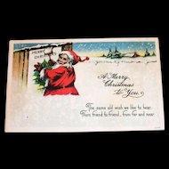 Vintage A Merry Christmas To You Santa Claus Postcard