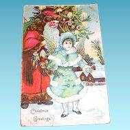 Vintage Christmas Greetings Santa & Victorian Style Girl Angel Postcard