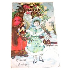 Vintage Christmas Greetings Santa & Victorian Style Girl Angel Postcard