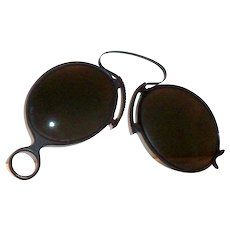 Vintage Pince-Nez Celluloid Frame Folding Black Glass Lens Sunglasses