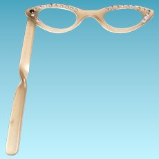 Retro Plastic Cat Eye Rhinestone Folding Opera/Reading Eyeglasses