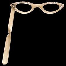 Retro Plastic Cat Eye Rhinestone Folding Opera/Reading Eyeglasses