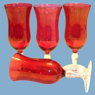 Stemmed Cranberry Glass Wine Glass