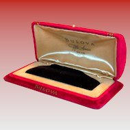 Bulova Fifth Avenue Red Velvet & Gold Tone Trim Watch Display Box