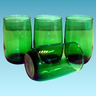 Vintage Anchor Hocking Transparent Emerald Green Juice Glass