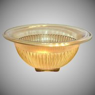 Federal Glass Co. Amber Transparent Glass Ribbed Design With Square Bottom Bowl