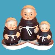 vintage Goebel Friar Tuck Hand Painted Porcelain 6 Pc Condiment Set