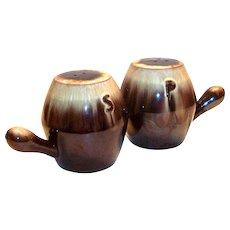 Brown Drip Pottery Single Handles Salt & Pepper Range Set