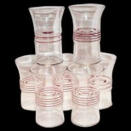 Vintage Flared Topped & Red Horizontal Striped Design Center Clear Glass