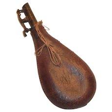 Antique Civil War Era Leather & Brass Gunpowder Flask