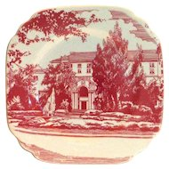 Vintage Syracuse China Restaurant Ware Red Mansion Design Square Salad Plate