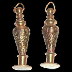 vintage Chatelaine Miniature Gold Tone Urn Shaped Metal Perfume Or Scent Bottle