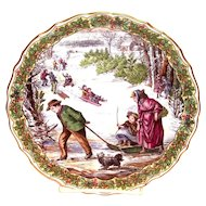 """Spode China: The Victorian Christmas Series: """"Sleighing"""" Plate No. 3"""