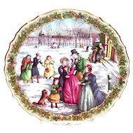 """Spode China: The Victorian Christmas Series: """"The Carol Singers"""" Plate No. 5"""