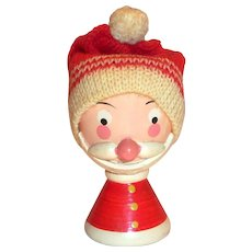 Sevi, Italy Hand Painted Wooden Santa Claus/Helper Egg Cup With Knitted Cap