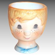 Hand Painted Freckled Face Little Girl Egg Cup Holder
