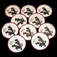 McKee Tipp Scottie Dog Punched Tin Coasters Set of 10