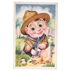 Vintage Plastic Movable Google-Eyed Boy Scout Postcard