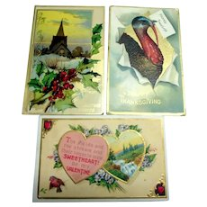 3 Different Holiday Postcards: Christmas, Valentines & Thanksgiving