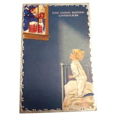 The Night Before Christmas Postcard - Little Boy Watching Santa