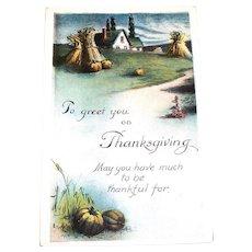 Vintage To Greet You On Thanksgiving Postcard