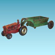 Arcade Cast Iron Toy Tractor & Spreader - 1930's