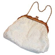Vintage Whiting & Davis White Enamel Mesh Purse