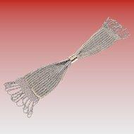 Vintage Silver Tone Beaded & Lattice Lace Trim Chatelaine Miser Purse