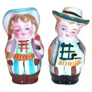 Vintage Cowboy & Girl Hand Painted Porcelain Salt & Pepper Shakers