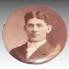 Vintage Late 1800's-Early 1900's Celluloid Covered Young Man Portrait Pin