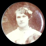 Vintage Celluloid Overlay Portrait Pin of a Young Lady