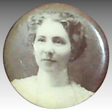 Vintage Late 1800's-Early 1900's Celluloid Covered Lady Portrait Pin