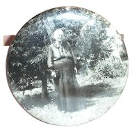 Early 1900's Old Lady Round Portrait & Mirror