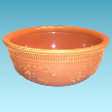 Golden Yellow Colored Pottery & Floral Design Oven Ware Bowl
