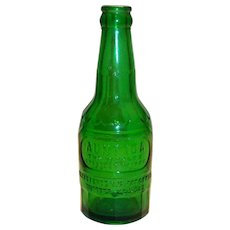 Vintage Aunt Ida Green Soda Bottle - 1960's