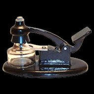 Industrial Black Cast Iron Base Push Handle Ink Well With Glass Bottle