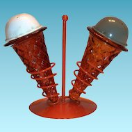 Vintage Novelty Ice Cream Cones Salt & Pepper Shakers On A Stand