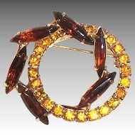 Lovely Amber Marquis Rhinestones On A Gold Tone Round Pin