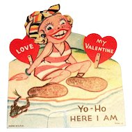 "Vintage ""Yo-Ho Here I Am"" Mechanical Valentine - 1937"