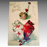 International Art Publishers: With Love And Devotion Valentine's Day Postcard