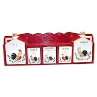 Vintage Hanging Wall Shelf & 5 Pc Porcelain Condiment Set