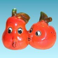 Anthropomorphic Novelty Tomato & Pear Love Match Porcelain Salt & Pepper Shakers