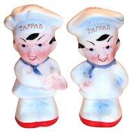 Tappan Advertising Porcelain Chef Salt & Pepper Shakers
