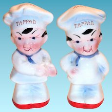 Tappan Advertising Porcelain Chef Salt & Pepper Shakers