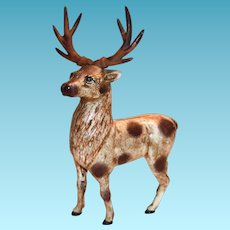 Vintage Hand Painted Cast Iron Deer Bank