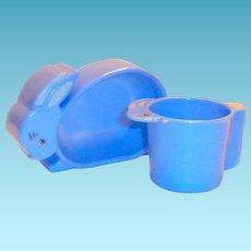 Vintage Hard Plastic Child's 2 Pc Blue Rabbit Shaped Dish & Matching Cup Set